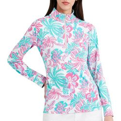 Stella Parker Womens Tropical Quarter Zip Long Sleeve Top