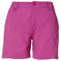 Caribbean Joe Womens Solid Chino Stretch Waist Shorts