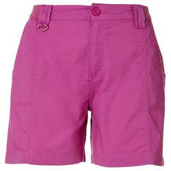 Womens Solid Chino Stretch Waist Shorts