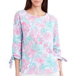 Womens Flora & Fauna Tie Sleeve Top