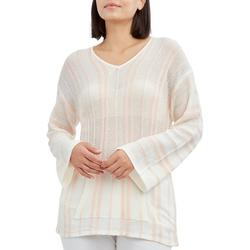 Womens Striped Kangaroo Pocket Beach Sweater