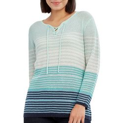 Caribbean Joe Womens Ombre Lace Up Sweater