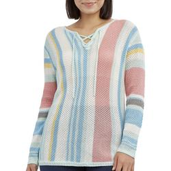 Womens Ombre Lace Up Sweater