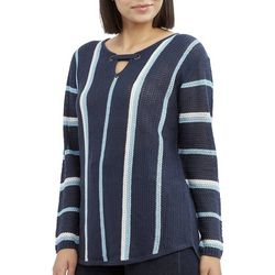 Caribbean Joe Womens Striped Keyhole Neck Beach Sweater