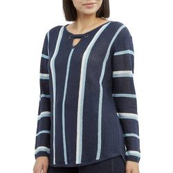 Womens Striped Keyhole Neck Beach Sweater