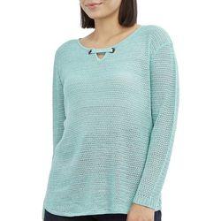 Caribbean Joe Womens Solid Keyhole Neck Beach Sweater