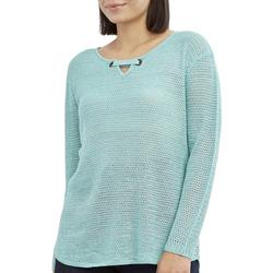 Womens Solid Keyhole Neck Beach Sweater