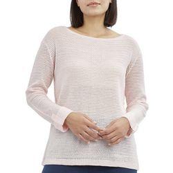 Caribbean Joe Womens Solid Button Back Beach Sweater