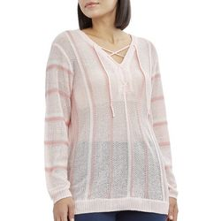 Caribbean Joe Womens Striped Lace Up Sweater