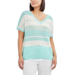 Caribbean Joe Womens Striped Short Sleeve Sweater