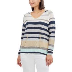 Caribbean Joe Womens Striped Long Sleeve Sweater