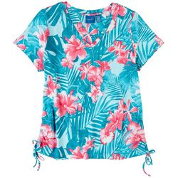 Caribbean Joe Womens Tropical Print Short Sleeve Top