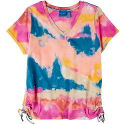 Caribbean Joe Womens Tye Dye Print Short Sleeve Top