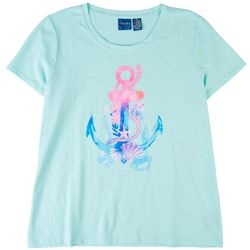 Caribbean Joe Womens Anchor Short Sleeve Top