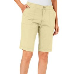 Caribbean Joe Womens Solid Chino Bermuda Shorts