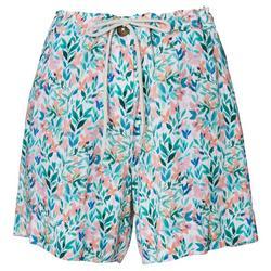 Womens Watercolor Floral Drawstring Shorts