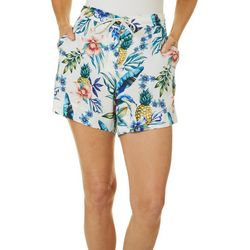 Caribbean Joe Womens Tropical Pineapples Drawstring Shorts