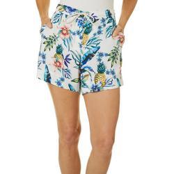 Womens Tropical Pineapples Drawstring Shorts