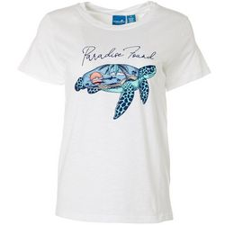 Caribbean Joe Womens Paradise Found Turtle Screen Print Top