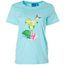 Caribbean Joe Womens Tropical Drink Screen Print Top