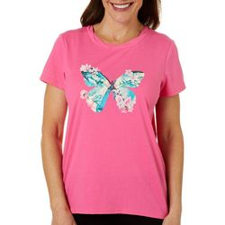 Caribbean Joe Womens Tropical Butterfly Screen Print Top
