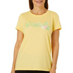 Caribbean Joe Womens Tropical Hibiscus Screen Print Top