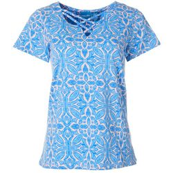 Caribbean Joe Womens Tile Print Lattice Neck Top