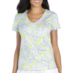 Caribbean Joe Womens Floral V-Neck Top