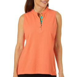 Caribbean Joe Womens Solid Mandarin Collar Sleeveless Top