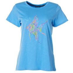 Caribbean Joe Womens Tropical Fish Screen Print Top