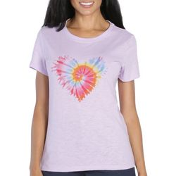 Caribbean Joe Womens Tie Dye Heart Print Top