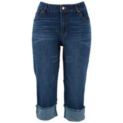 D. Jeans Capri Womens Wide Cuff Roll Capris