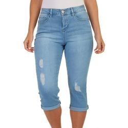 Womens Slim Stretch Solid Capri Jeans