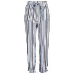 Womens Striped Linen Roll Cuff Pants