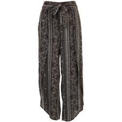 Womens Tie Waist Printed Pants