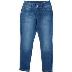 Womens Three Button Slim Stretch Denim Jeans