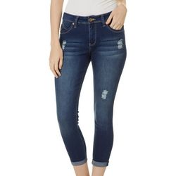 Royalty by YMI Womens Distressed Roll Cuff Jeans
