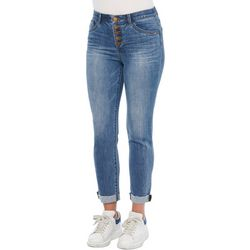 Democracy Womens Button Up Roll Cuff Ankle Jeans