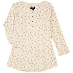 Chaps Womens Floral Rib 3/4 Sleeve Top