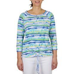 Hearts of Palm Womens Boat Neck Tie-Dye Stripe Top