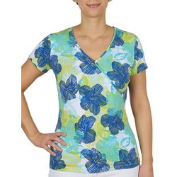 Hearts of Palm Womens Tropical V-neck Short Sleeve Top