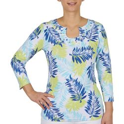 Hearts of Palm Womens Foliage 3/4 Sleeve Top