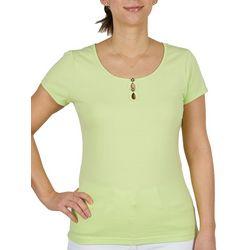 Hearts of Palm Womens 3  Key Hole Knit Short Sleeve Top
