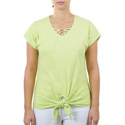 Hearts of Palm Womens Palm Solid Short Sleeve Top