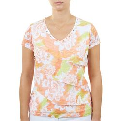 Hearts of Palm Womens Embellishment V-Neck Top
