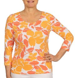 Hearts of Palm Womens Fall Floral 3/4 Sleeve Top