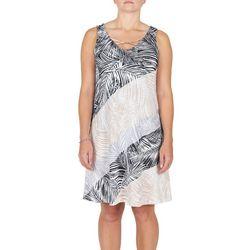 Hearts of Palm Womens Diagonal Palm Leaf Dress