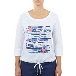 Hearts of Palm Womens Embellished Anchor Top