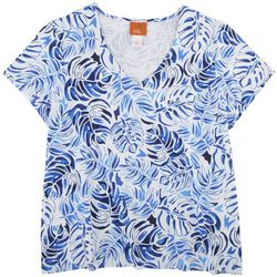 Hearts of Palm Womens Blue Leaves Top