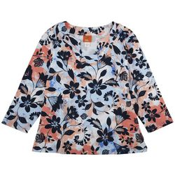 Hearts of Palm Womens Tropical Floral 3/4 Sleeve Top